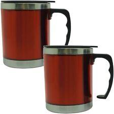 2x Thermo Mug 450ml Stainless Steel Insulated Mug Car Mug Cup Cups Red