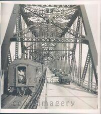 1940 US Military Jeeps Train Cross Mississippi River at Vicksburg  Press Photo