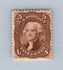 OAS-CNY ED-034 SCOTT 75 – 1861-66 5c Jefferson, red brown mint no gum $2100