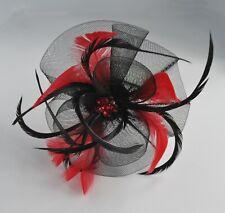 Crinoline mesh rosebud flower fascinator headband. 8 colours. Wedding/races. UK