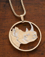 "Rhinosaurus Pendant and Necklace, Hand Cut Rhino Coin,1 1/4"" Diameter, ( # 907 )"