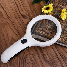 10X Handheld Magnifier Magnifying Glass Lens Loupe 8 LED Light With Money Detect