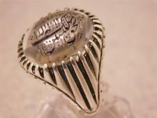 CUSTOM DESIGN MEN'S SILVER RING/CARVED CUT HOLLY WORDS ON A DOUR NAJAF STONE