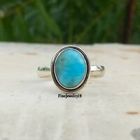 Larimar Gemstone 925 Sterling Silver Band Ring Statement Handmade Jewelry A210