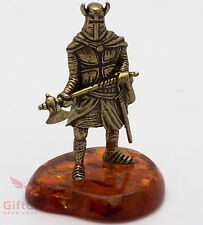 Solid Brass Amber Figurine Teutonic Crusader Knight w battle axe IronWork