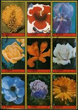Ajman 1972 Flowers Block Of 9 Large Stamps Cto Used #V5700