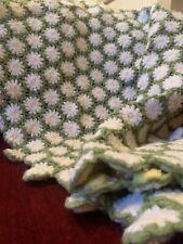 afgan blanket flower print homemade crochet