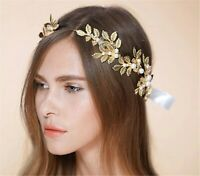 Women boho Gold Color Leaf Bride Party Hair head Band Headband Crown Tiara Hoop