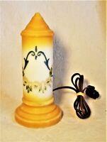 1920s Art Deco Porcelain Yellow Floral Design Skyscraper Boudoir Tower Lamp VGUC