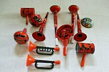 VINTAGE Lot HALLOWEEN TIN NOISE MAKER CLACKER Horns Rattle Antique