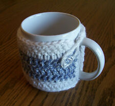 Hand Crochet Denim Blue & White Buttoned Coffee Mug Cozy