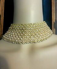 Vtg 50's Faux Pearl Gold Choker Wedding Statement Costume Necklace