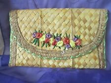 Vintage straw purse clutch handmade woven with red, yellow & purple flowers