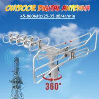 110V HDTV Digital Amplified Antenne 1080p 360° Rotor UHF VHF FM HD Outdoor