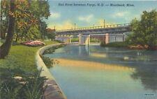 Moorhead Minnesota~Red River Broidge~1949 Postcard