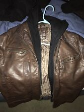 Calvin Klein Brown Leather Jacket Small Size . Fast Shipping