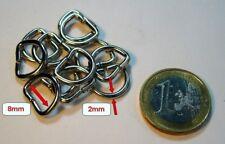 50 D-Ringe, vernickelt,offen,8x2