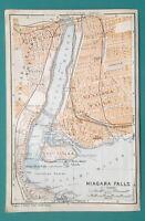"NIAGARA FALLS & Environs - 1909 MAP Baedeker 4 x 6"" (10 x 15,5 cm)"