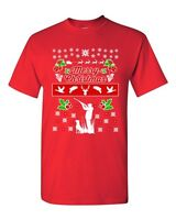 Merry Christmas Hunting Dog Animals Ugly Christmas Sweater DT Adult T-Shirt Tee