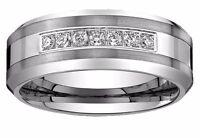 Men's Tungsten Carbide Diamond wedding band Ring 8mm wide 0.25 Ct sizes 8 to 16