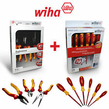 Wiha Electricians Insulated VDE 9 Piece Heavy Duty Screwdriver & Plier Set 1000v