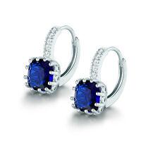 18K White Gold Filled Princess Blue Sapphire Design Wedding Leverback Earrings