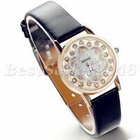 Fashion Rhinestone Dial Leather Band Women's Watches Quartz Analog Wrist Watch