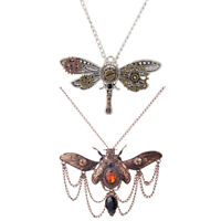2Pcs Steampunk Punk Rock Choker Dragonfly Shaped Necklace Gear Charm Pendant