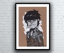 Murdoc Gorillaz Drawing with Melancholy Hill Lyrics - Giclée Art Print A4 size