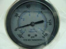 "302LFW-254CF 2.5"" Glycerin Filled SS 316 Int Gauge 1/4"" NPT CBM 30/0/150 psi"