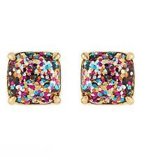 KATE SPADE 12K Gold Plated Multi Glitter Square Studs Earrings NEW