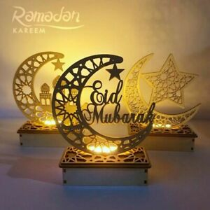 Ramadan Kareem Eid Mubarak Decorations Home Moon LED Candles Light Wooden Muslim
