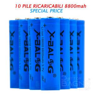 10 PILE RICARICABILI Pila Batteria Litio Ricaricabile 3.7V 8800 mAh