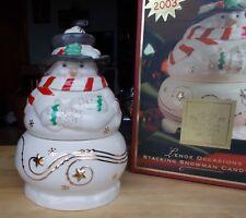 2003 Lenox Occasions Stacking Snowman Candy Box Dish Holiday Decoration ~ Nib