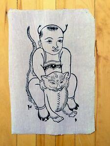 Vietnamese Traditional Folk Art Print Pink Background Man Boy On Cat