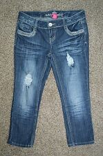 Almost Famous Junior Women's Distressed Distressed Cropped Denim Blue Jeans Sz 5