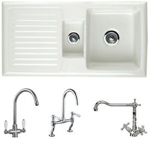 Astini Rustique 150 1.5 Bowl White Ceramic Kitchen Sink & Chrome Waste