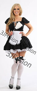 Women Sexy French Maid Adult Uniform Fancy Dress Costume Outfit FREE POST (CL)