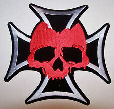 LARGE IRON CROSS and SKULL PATCH - 7 INCHES - GERMAN - MOTORCYCLE VEST PATCH