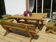 Wooden Garden Furniture Large Patio Set, Table, 2 Benches, 2 Chairs Solid Wood