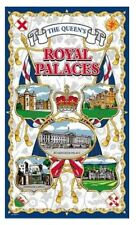 Royal Palaces Tea Towel Souvenir Gift Buckingham Windsor Queen Elizabeth II Blue