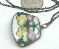 Vintage Sterling Necklace 925 Silver Chinese Porcelain Broken Plate Pendant
