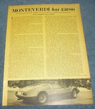 "1970 Monteverdi hai 450SS Vintage Info Article ""An American V8 in the Middle..."""