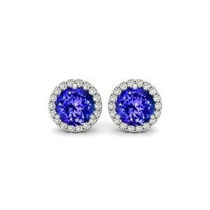 Tanzanite and White Topaz Halo Stud Earrings 925 Stamped Sterling Silver