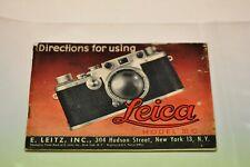 Leica IIIc camera instruction manual in English