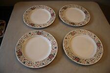 "Set Of 4 Farberware Monaco 3111 China Floral 10 3/4"" Dinner Plates"
