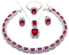 Argento Sterling Rubino E Diamante 30.21 KT Collana Set (925) confezione regalo gratuito di lusso