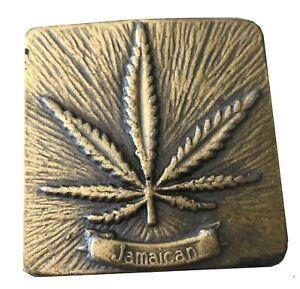 Vtg Marijuana Leaf Belt Buckle Pot Jamaican Smoking Rolling Paper Join Spliff
