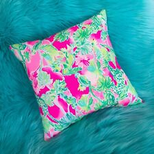 New throw pillow made with Lilly Pulitzer Raz Berry Catty Shack fabric