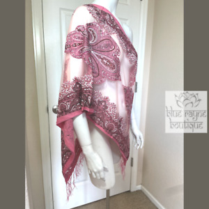 Pink Paisley Fringe Silky Soft Burnout Bohemian Bollywood Cover-Up Scarf